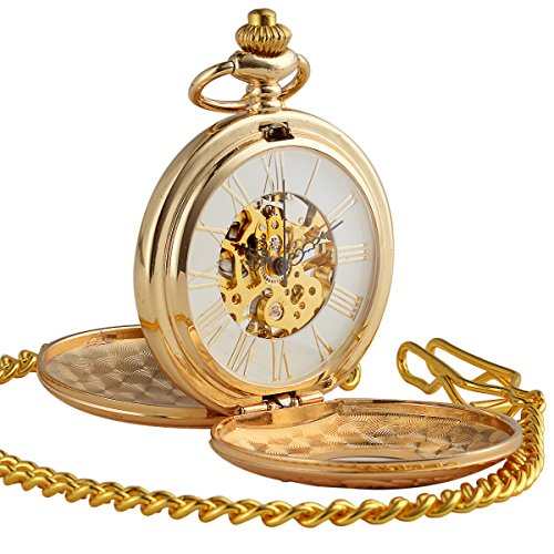 ManChDa Golden Double Hunter Case Skeleton Pocket Watch Roman Numerals Mechanical For Men Women (Double Watch Case)