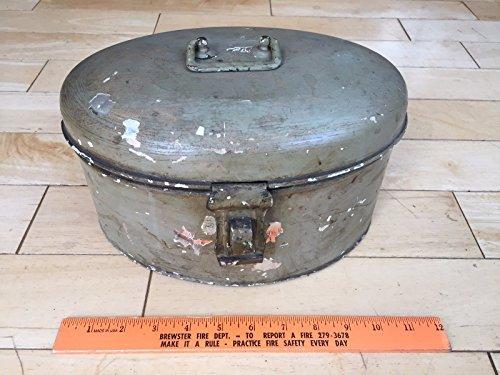 Vintage Metal Hinged Oval Lock Box Germany Top Handle Back Vent Holes Military (Metalware Tin)