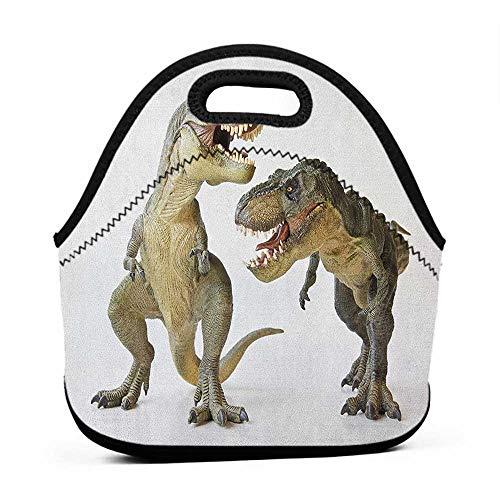 (for Womens Mens Boys Girls Dinosaur,Tyrannosaurus Rex Pair Facing Off Ferocious Creatures Prehistoric Predators, Ivory Brown Grey,book bag lunch box combo for boys )