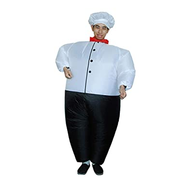 1e19799160 Amazon.com  Prettyia Funny Chef Inflatable Adult Costume Blowup Jumpsuit  Halloween Fancy Dress  Clothing