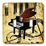 3dRose lsp_163514_2 Image of Piano on Grunge Sepia Note Paper with Piano Keys Light Switch Cover