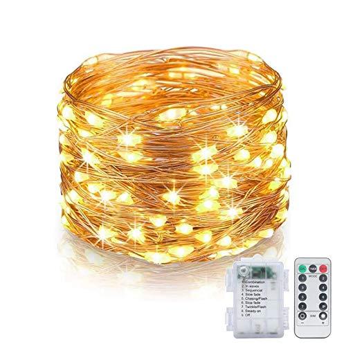 Fairy Lights 10M 100 LED Batterij Operated Kerstverlichting met Afstandsbediening & Timer Waterdicht 8 Mode Koper Draad…