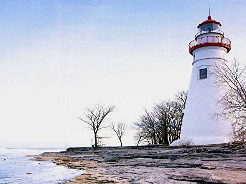 Marblehead Lighthouse -Oil Painting On Canvas Modern Wall Art Pictures For Home Decoration Wooden Framed (20X16 Inch, ()