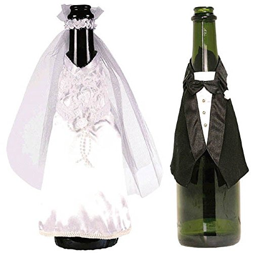 Amscan Avant Garde Celebration Champagne Bottle Wear Wedding Party Favors,, Black/White