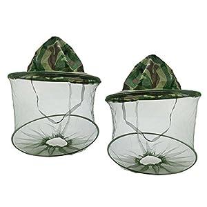 Weimay Camouflage Beekeeping Beekeeper Hat Anti-zanzara Bee Bug Insetto Fly cap Hat con Testa Net Mesh Protezione facciale per Viaggiare Zaino in Spalla in Campeggio o Pesca.2 Pack 12 spesavip