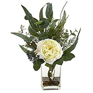Nearly Natural 1765-WH 21-in. Rose and Eucalyptus Artificial Silk Arrangements White 57