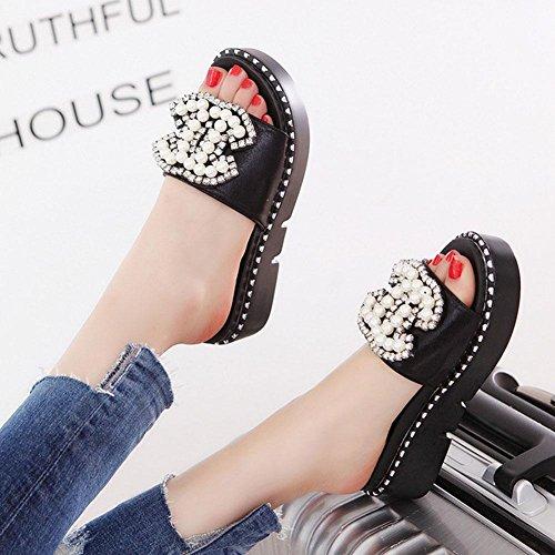 de las mujeres de la perla de la moda femenina jalea zapatillas de playa verano sandalias planas ocasionales Black