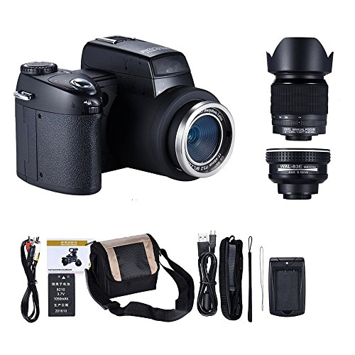 Digital Camera, MMUSC 33MP Digital SLR Camera with Wide Angel Lens + Telephotos Lens + Flash + LED Spotlight, 24x Optical Zoom and 1080p Full HD Video Commander Starter Kit(D7200)