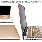 BeneU® Rubberized Soft-Touch Plastic Hard Case Cover & Keyboard Cover & screen protector for Macbook Air Pro Retina (Macbook 13'' Pro with Retina, Champagne Gold)