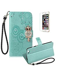 Funyye Light Green Strap Cover for iPhone 6 Plus,Cute 3D Diamond Owl Pattern Design Magnetic Flip Wallet Detachable Glitter Case with Stand Card Holder Slots Cover for iPhone 6S Plus,Anti Scratch Full Body Protective Soft Silicone PU Leather Case for iPhone 6 Plus/6S Plus + 1 x Free Screen Protector