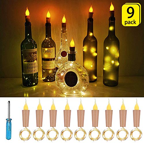 SunKite Flame Cork Lights, 9 Pack Fairy String Lights with Wine Bottle Cork, 10 LED 1m/39in Copper Wire Battery Operated Candle Lights, Party, Wedding, DIY, Centerpieces Decoration(Warm White)