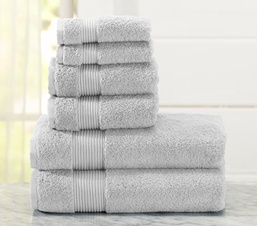 6-Piece Luxury Hotel / Spa 100% Turkish Cotton Towel Set, 600 GSM. Includes Bath Towels, Hand Towels and Washcloths. Melanie Collection By Great Bay Home Brand. (Glacier Grey)