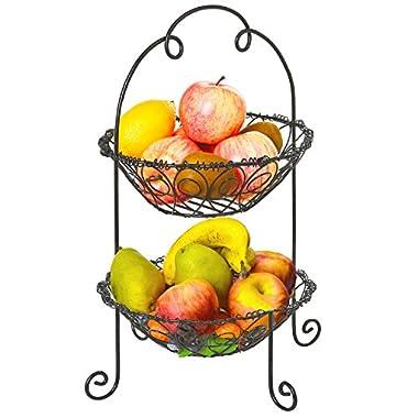Vintage Scrollwork Design Black 2 Tier Kitchen Fruit Basket Rack / Food Storage Holder - MyGift®