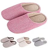 KRIMUS Indoor Slippers  Striped Slippers  Slippers for Women Slippers for Men Couple Slippers(Pink-S)