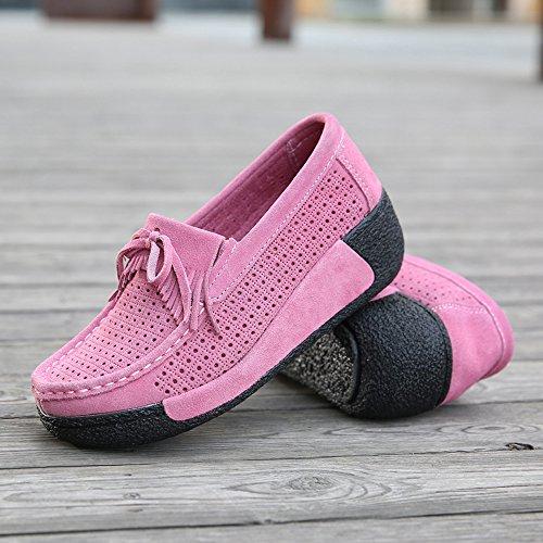 Enllerviid Enlleviid Kvinnor Slip-on Mocka Driv Mockasiner Plattform Loafers Komfort Gående Arbetsskor 1319-1 Rosa