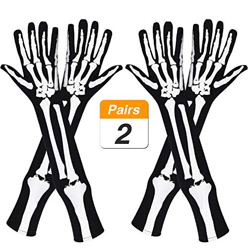 Jovitec 2 Pairs Skeleton Gloves Long Arm Full Finger Gloves for Halloween Cosplay Parties Accessory