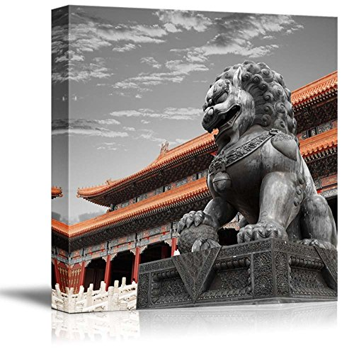 Black and White Photograph with Pop of Color on The Chinese Temple