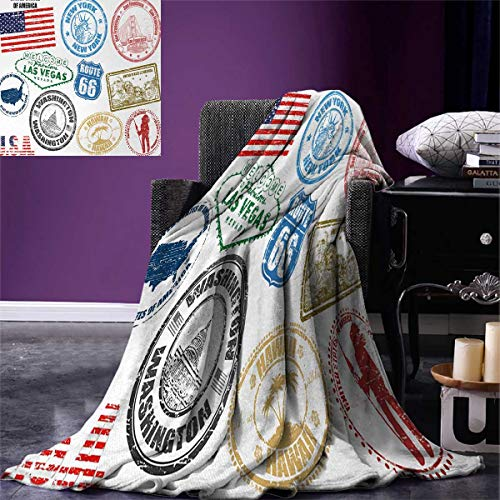 Anniutwo United States Digital Printing Blanket Grunge Stamps America Las Vegas New York San Francisco Hawaii Illustration Custom Design Cozy Flannel Blanket 80''x60'' Multicolor by Anniutwo