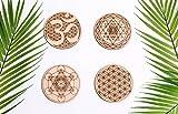Sacred Geometry Coasters, One Set of Four