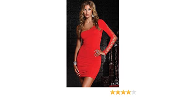 Amazon.com : FORPLAY MINI VESTIDO ESCOTE ASIMETRICO ROJO - M : Grocery & Gourmet Food