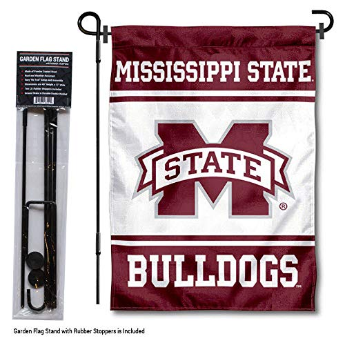 Mississippi State Bulldogs Rubber - College Flags and Banners Co. Mississippi State Bulldogs Garden Flag with Stand Holder
