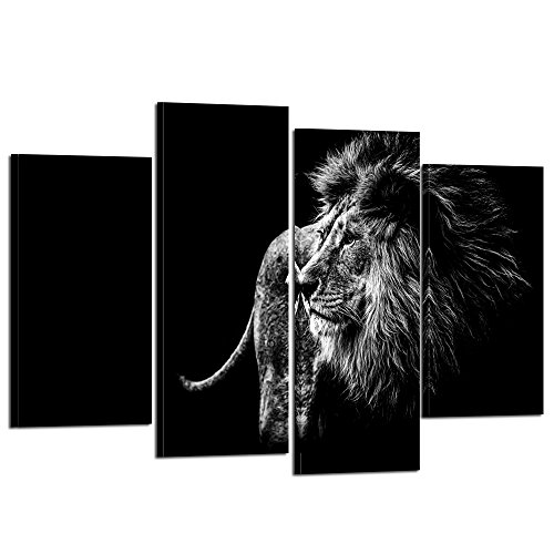 Lion Head Pictures - Kreative Arts - Black And White Lion Head Portrait Wall Art Painting Print On Canvas Animal The Picture For Home Modern Decoration (Black Lion 3)