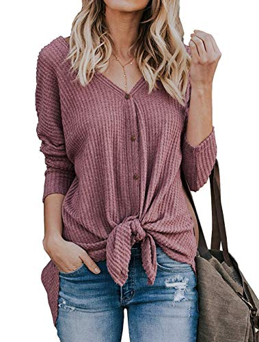 Narvokey Womens Waffle Knit Tunic Blouse Tie Knot Henley Tops V Neck Button Down Henley Shirt Cardigan Loose Fitting Blouse (M, Rust Pink)