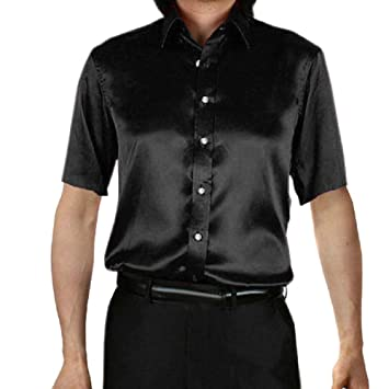 2866c883edc Zerototens Mens Oversize Shirt Solid Color Short Sleeve Button Turn Down  Collar Shirt Slim Fit Party