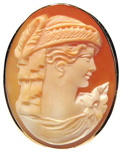 Cameo Brooch Pendant Master Carved,Italian Art Deco Solid 14k Gold Carnelian Shell