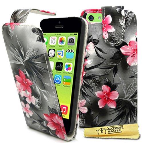 Accessory Master 5055716378696 Blumen Design Elegante Ledertasche für Apple iPhone 5C schwarz