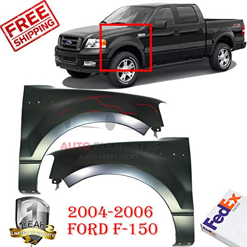 (New Front Fenders for 2004 - 2006 Ford F-150 FX4/STX/XL/XLT Left Hand Side & Right Hand Side Without Wheel Opening Molding Holes Direct Replacement Primed Steel Set of 2 5L3Z16005AA 5L3Z16006AA)