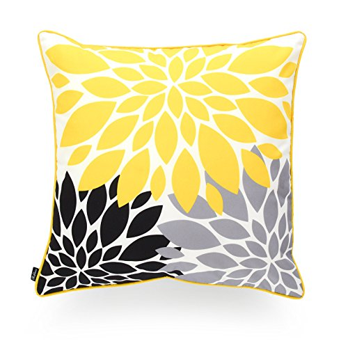 Hofdeco Decorative Throw Pillow Cover INDOOR OUTDOOR WATER RESISTANT Canvas Vivid Yellow Grey Black Blooming Flower 18