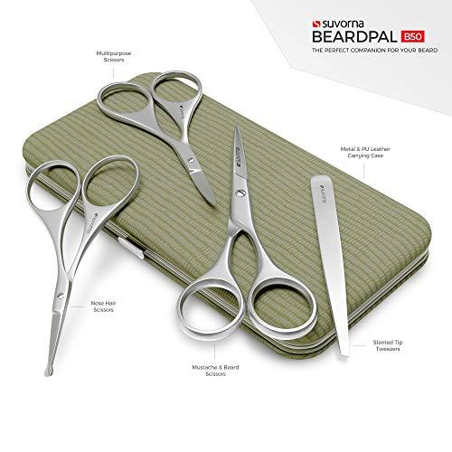 Suvorna Men's 4 Pcs Facial Hair Scissors Set/Kit. Contains 4.5