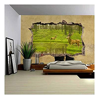 Deers in The Forest Viewed Through a Broken Wall Large Wall Mural Removable Peel and Stick Wallpaper, Classic Design, Magnificent Handicraft