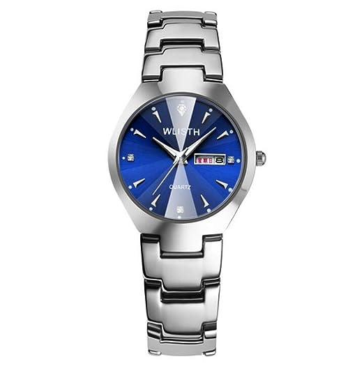Relojes para Parejas Relojes de Cuarzo Banda de Acero, Mujer F: Amazon.es: Relojes