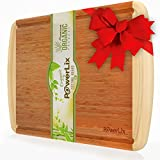 PowerLix Best ORGANIC Bamboo Cutting Board - EXTRA LARGE & THICK (45.5 30.5 1.9cm) Wood Cutting Board & Antimicrobial Kitchen Chopping Board with Drip Groove - FDA Approved - Perfect Gift