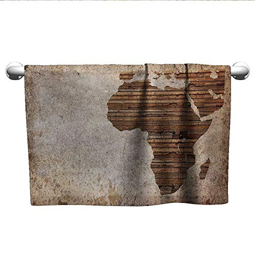 African,Hair Towel Geography Theme Grunge Vintage Wooden Plank and Africa Map Digital Print Quick-Dry Towels Tan Umber and Brown W 14