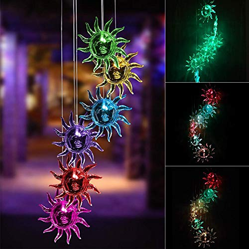 JUST N1 LED Solar Butterfly Wind Chime Changing Color Sunflower Bee Waterproof Hanging Lantern Light for Home Party Bedroom Night Garden Lamp Decoration - Lantern Garden Sunflower