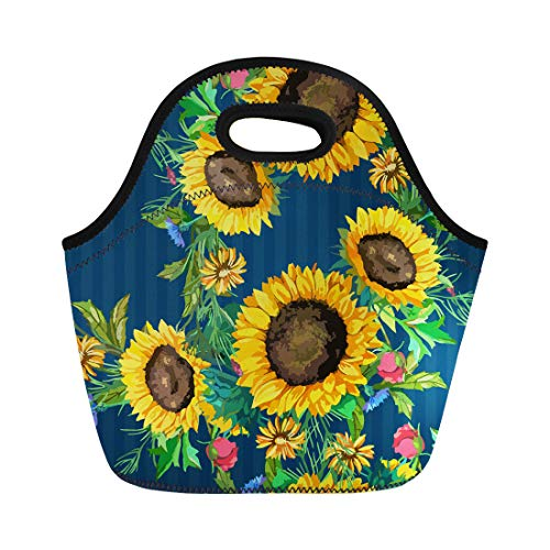 Semtomn Neoprene Lunch Tote Bag Brown of Watercolor Sunflowers Big and Small Green Leaves Reusable Cooler Bags Insulated Thermal Picnic Handbag for Travel,School,Outdoors,Work
