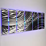 DV8 Studio Modern Abstract Metal Wall Art Large Metal Art Panels Silver Silver Storm, LED Color Changing LED Sculpture Painting Decor RGB