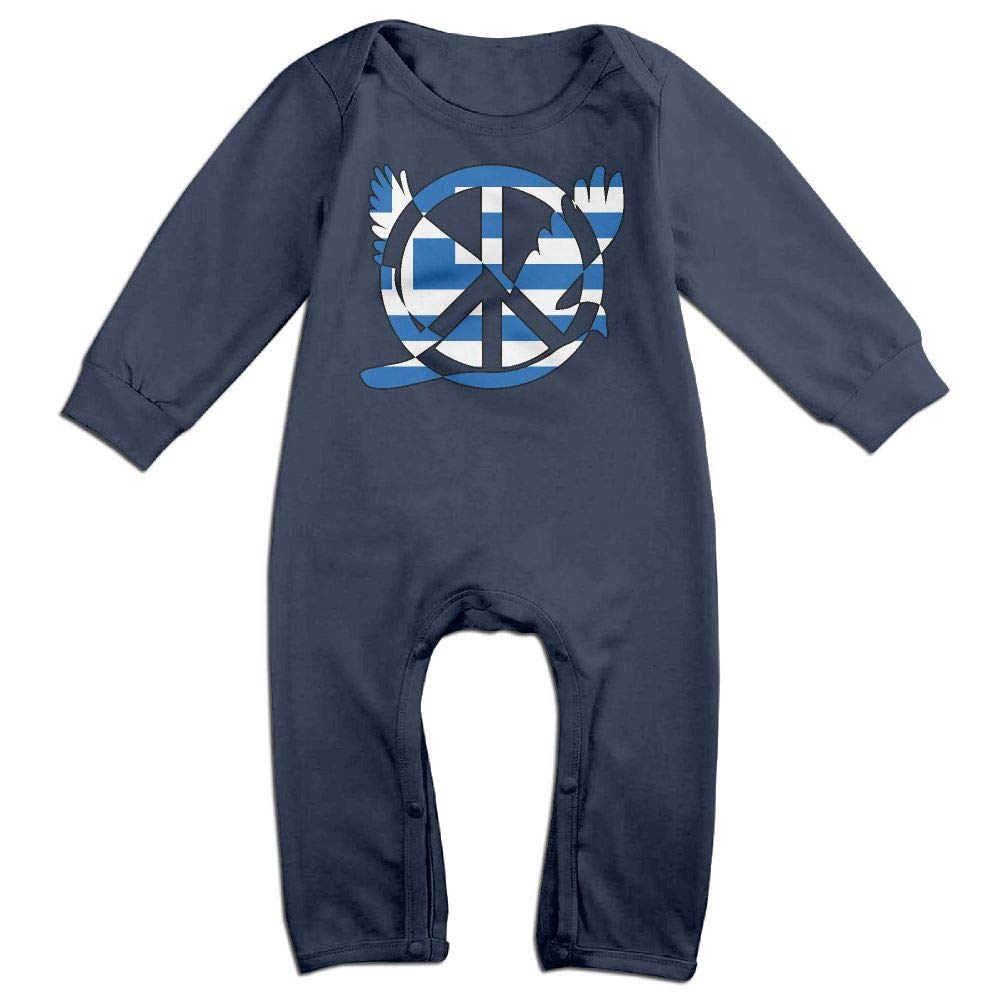 Mri-le1 Baby Boy Girl Long Sleeve Jumpsuit Greek Flag Peace Sign Symbol Baby Rompers