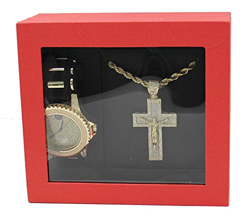 Techno Pave Fashion Jewelry GIFT Set:Gold Tone Watch +Gold Tone Necklace+ Gold Tone Pendant