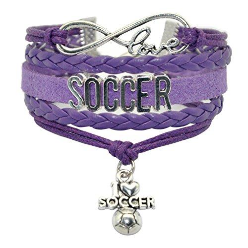 HHHbeauty Infinity Soccer Bracelet Jewelry Cute Soccer Ball Charm Bracelet Friendship Gift for Women,Girls,Men,Boys,Teens Including Fantastics Infinity Love Charm, Letters, Soccer Charm (Purple) -