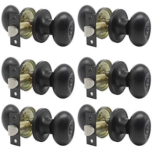 (6 Pack) Flat Black Interior Door Knobs for Bathroom Bedroom, Keyless Privacy Door Knobs, Cylindrical Bed/Bath Door Locks, Stainless Steel Modern Door Handles by Probrico