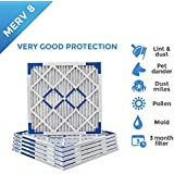 18x22x1 Merv 8 Pleated AC Furnace Air Filters - 6 PACK