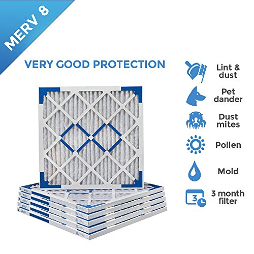 18x22x1 Merv 8 Pleated AC Furnace Air Filters - 6 PACK (X Furnace 18 Filters 18)