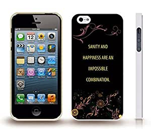 """iStar Cases? iPhone 4 Case with """"Real friends don't have to..."""" Inspirational, White Font, Jumping on Beach , Snap-on Cover, Hard Carrying Case (White)"""