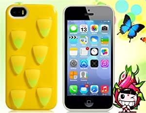 3D Pitaya TPU Rubber & Silicone Case with Dustproof Plug for iPhone 5S/ 5 (Yellow)