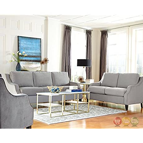 Donny Osmond Home 508037 Isabelle Collection Fabric Sofa Gray
