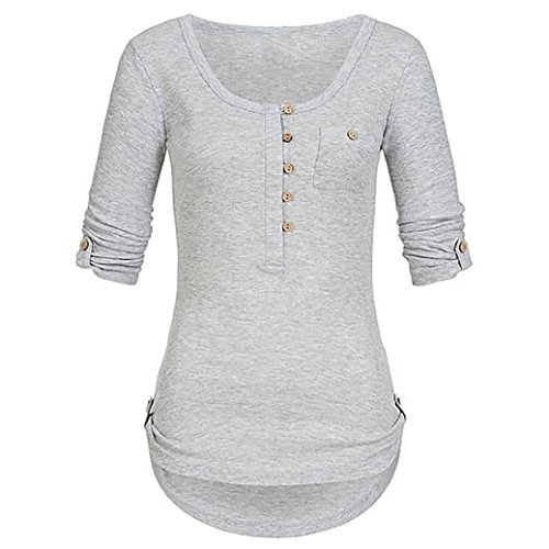 Women's T-Shirt, Clearance Women Ladies Long Sleeved Solid Color Pocket Top Button Blouse Pullover Tops Shirt With Pockets Duseedik ()